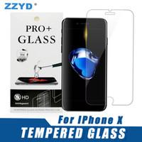 varejo tela clara iphone venda por atacado-Para iphone xs max 6 5 plus vidro temperado filme protetor de tela clara com pacote de varejo para samsung