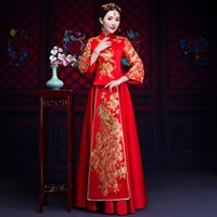 ingrosso vestiti cinesi rossi-Red Bride Fall Abiti Vintage Chinese Style Wedding Dress Retro Toast Abbigliamento Ricamo Abito Peacock Matrimonio Cheongsam Qipao