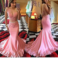 Satin Tulle Illusion Bodice Pink Mermaid Prom Dress Sheer Open Back Vestidos De Noche Largos Elegantes De Fiesta Free Shipping