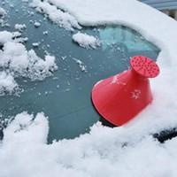ön cam buz toptan satış-4 Renkler Araba Cam Buz Kazıyıcı Aracı Koni Şeklinde Açık Yuvarlak Huni Araç Temizleme Kar Buz Kazıyıcı Kit kaldır