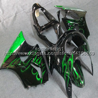 Wholesale kawasaki zx 6r 1998 fairing resale online - 23colors Gifts green flames motorcycle cowl for Kawasaki ZX R ZX6R ABS Plastic Fairing