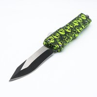 Wholesale skull self defense resale online - A16 yellow skull models double action tactical self defense folding double edc action knife automatic knife automatic knives xmas gift