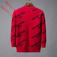 topos de suéter vermelho e solto venda por atacado-2019 marca blusas dos homens vermelho em torno do pescoço carta impressão blusas soltas respirável malhas homens Camisola tops qualidade homens roupas TS-4