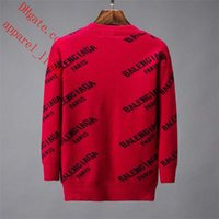 pulls lâches rouges achat en gros de-2019 marque hommes chandails rouges col rond lettre imprimée chandails en vrac respirant tricots hommes Sweat tops qualité vêtements pour hommes TS-4