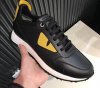 zapatos de cuero amarillo al por mayor-2018 Diseñador de calidad superior zapatos casuales cuero genuino Ojos amarillos monstruos para hombre zapatillas de deporte ocasionales Botas deportivas 10