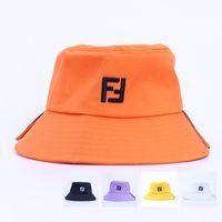 Wholesale wide brim black hat women for sale - Group buy F Bucket Hats Letter Printed Fisherman Cap Men Women Summer Flat Top Wide Brim Caps Beach Sun Visor Hat GGA2408