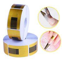 Wholesale gel nails designs for sale - Nail Form Tips Nail Art Guide Form Gel Tip Nail Extension Sticker DIY Design Tools Curl Art Tip Extension set KKA6443
