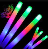 мигающие пенные палочки оптовых-Светодиодные красочные пены мигающие пены палку Концерт вечеринка клуб развеселить губка светящиеся палочки светящиеся палочки фестиваль вечеринка рождественские украшения