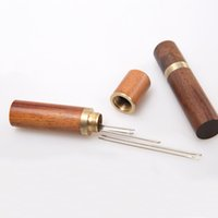 Wholesale sewing toys resale online - Hand Sewing Needles Embroidery Mending Housing Case Durable Practical Wood Box Leather Knitting Craft punch hand tool