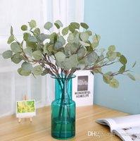 ingrosso foglie artificiali per matrimoni-Foglie verde artificiale grande foglia di eucalipto piante di seta vegetazione artificiale per matrimoni decorazione falso eucalipto 60 cm
