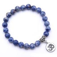 ingrosso vendita di braccialetti elastici-2019 Nuovo popolare di alta qualità multicolore naturale braccialetto di perle Mens e donne 8mm di pietra braccialetto elastico in vendita
