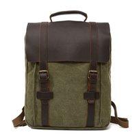 Wholesale quality canvas briefcases resale online - Vintage Classics Style Men Backpacks made of Genuine Leather and High Quality Canvas Briefcase Attache Case Boys Travel Backpack