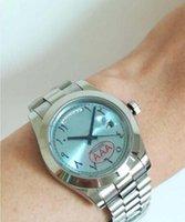 Wholesale fashion watch ice online - Luxury Brand Day Date Designer Ice Blue Watch Men Rome figures Automatic WristWatch Daydate Fashion Aaa Luxury Watches Wristwatches