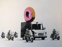 Wholesale urban art paintings resale online - Banksy Street graffiti Urban Art police doughnut security Home Decor Handpainted HD Print Oil Painting On Canvas Wall Art Canvas