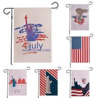 ingrosso lenzuola usa-Quarto di luglio Garden Flag Bandiera americana Independence Day Memorial USA House Yard Flag Banner per Party Outside Garden Decor banner di lino