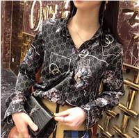uzun gömlekli kadın toptan satış-Yeni Çiçek Baskı Kadın Bluz Yaz Uzun Kollu Gömlek Baskılı Blusa Feminina Bayan Tops Ve Bluzlar