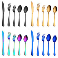 Wholesale colorful knives for sale - Group buy 5pcs set Stainless Steel Dinnerware Sets Knife Fork Spoon Flatware Sets Tableware Colorful Cutlery Style HHA590