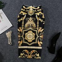 falda abstracta al por mayor-2019 New-Coming Mujeres Europeas Verano Estampado Falda Lápiz Estiramiento Alto Patrón Abstracto Midi Slip Hip Falda Mujer