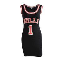 sevimli yaz stilleri toptan satış-Bayanlar Yaz Elbise Kadınlar Sevimli Bodycon Bulls Sporting Forması Üstü Diz Boyu O-Boyun Tunik Elbiseler Gigi Hadid Tarzı Vestidos Y190514