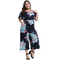 32084d063f3 Women Jumpsuit Elegant Plus Size 4XL Falbala Backless Pocket Off Shoulder  Slash Neck Floral Casual Wide Legs Sexy Jumpsuit