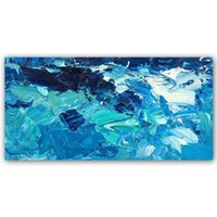 resim sanat eseri toptan satış-Duvar Sanatı Tuval Resimleri Mavi Turkuaz Soyut Dokulu Yağlıboyalar El Boyalı 3D Sanat Eseri Resimleri Modern Ev Dekor Duvar Resimleri