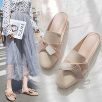 sapatos planos fechados para mulheres venda por atacado-Fora Plano Apartamento Com As Mulheres Fechadas Toe Chinelos Primavera Autumm Sólidos Slides Apliques de Lazer Das Mulheres Sapatos