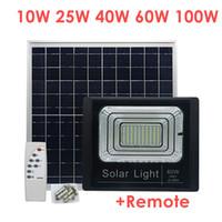 panel reflector al por mayor-Umlight1688 10W 25W 40W 60W 100W Solar Powered Panel Led luces de inundación Control remoto proyector exterior Jardín exterior Luz de calle