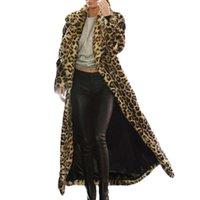 mujeres sexy abrigos gruesos al por mayor-Mujeres atractivas del leopardo impresión de la moda Outwear Tamaño más caliente del invierno capa de la chaqueta larga de piel gruesa de algodón Parka Delgado
