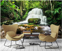 Wholesale living waters painting resale online - WDBH custom photo mural d wallpaper Waterfall water green forest background painting home decor d wall murals wallpaper for living room