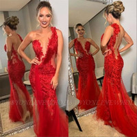 Wholesale one strap backless prom dress resale online - Sexy Red One Shoulder Mermaid Prom Party Dresses Formal Backless Carpet Evening Celebrity Gowns Custom Made