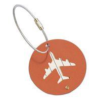 держатель чемодана оптовых-Round Aluminium Luggage Tags Suitcase Identity ID Name Address Label Holder