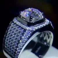 anillos de plata de ley para niños al por mayor-Joyería de lujo para hombre Realmente 925 plata esterlina eterna 2ct SONA Anillos de diamante dedo cóctel anillo de boda para hombres niños