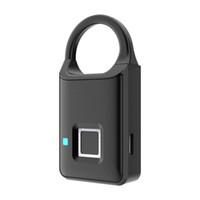 puertas biometricas al por mayor-Cerradura de puerta sin llave inteligente Huella digital Candado Biométrico Impermeable Cerradura electrónica de huella digital