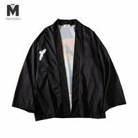 mann capes groihandel-Japan Harajuku Kimono Cardigan Herren Black Beach Kimono Cardigan Herren Fashion Long Capes Jacke Herren 2018 Sommer