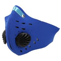 mavi yarı yüz maskesi toptan satış-Aktif Karbon Anti-Toz Toz Geçirmez Pm2.5 Filtre Açık Bisiklet Mavi 3D için Yarım Yüz Maskesi Kırpılmış Nefes Vana Maske