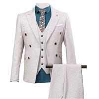 chaqueta de pistola al por mayor-Traje de los hombres traje de tres piezas (chaqueta + pantalón + chaleco) cuello de pistola para hombres cuello cruzado traje de color sólido vestido formal para hombres personalizado