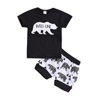 camisas casuais pretas para meninos venda por atacado-Meninos do bebê Selvagem Um T-shirt do Urso Shorts Roupas 2 pcs Set Animais Trajes Pretos Outwear Treino Ocasional Criança Roupa Do Bebê Da Criança B11