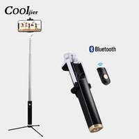 ausziehbare monopod funkfernbedienung großhandel-COOLJIER Drahtloses Telefon Bluetooth Selfie Stick Für iphone X 8 7 6s Plus Faltbares Ausziehbares Einbeinstativ Mit Fernbedienung Stativ