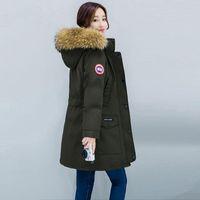 büyük parka ceketi kadın toptan satış-Kış Ceket Kadınlar Büyük Kürk Kapşonlu Parka Uzun Palto Pamuk Yastıklı Sıcak Kalınlaşmak Kış Coat Kadınlar Bayanlar Kızlar Dış Giyim