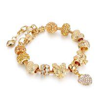 ingrosso perline di vetro grandi fori-2019 stile caldo fai da te in lega di cristallo grande foro perle di vetro braccialetto braccialetto accessorio moda femminile gioielli