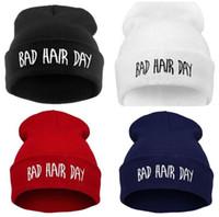 hip hop punk şapkaları toptan satış-Güz Kış Kötü Saç Gün Hip hop Punk Kapaklar Unisex Rahat Erkek Örgü Skullies Beanie Şapka Nakış Sonbahar Örme Şapka LE393