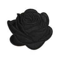 ingrosso patch di ferro ricamato di ferro-Ricamo Patch Cucire ferro su fiore Black Rose Patch ricamati distintivi per borsa Jeans cappello T shirt Appliques fai da te decorazione artigianale
