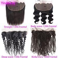 malezya kıvırcık saç önü toptan satış-Brezilyalı Bakire Saç 13X6 Dantel Frontal Düz Vücut Dalga Derin Dalga Kinky Kıvırcık Perulu Hint Malezya İnsan Saç 13 Tarafından 6 Dantel Kapatma
