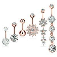 opal kristal halka toptan satış-Kadın 316L Paslanmaz Çelik Kristal Bar Göbek Ring Altın Kalp Vücut Piercing Düğme Göbek Opal vücut pierce takı