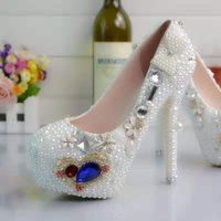 Gold Sweet Heart Wedding Shoes Pearls Pumps High Heels Bridal Shoes 8cm 11cm 14cm Bling Bling Prom Shoes for Lady