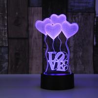 globo acrílico al por mayor-Led colorido fuente de alimentación usb pequeña lámpara de mesa acrílico creativo regalo 3d amor globo luz nocturna