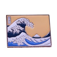 Wholesale wave paintings resale online - Great wave off the coast of Kanagawa pin Hokusai painting art brooch sea wave landscape jewelry artist teacher gift