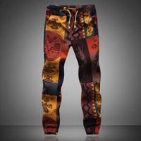 patrones de pantalones de lino al por mayor-2018 Moda Slack Pantalones Pantalones Harem Casual Hippie Cordón de lino para hombre patrón exótico de alta calidad más el tamaño 5XL