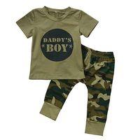 bio-bekleidung designer großhandel-Designer-Baby Kleiden Organic Cotton Baby-Mädchen-Camouflage Kurzarm T-Shirt Tops + grüne lange Hosen Outfit Beiläufigen Ausstattung