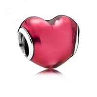 3mm'lik boncuk deliği toptan satış-Yeni kırmızı kalp tasarım gümüş 3mm için büyük delik boncuk yılan zincir takı DIY Boncuk q21